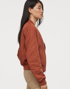 H&M DIVIDED Rust Quilted Track Bomber Jacket